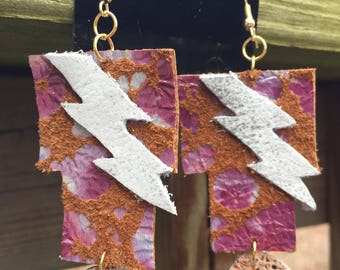 Leather Lightning Bolt Earrings