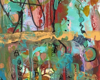 Wild horse on carousel, by Theresa Kauker, original, art, painting, abstract, acrylic, home decor, modern, contemporary