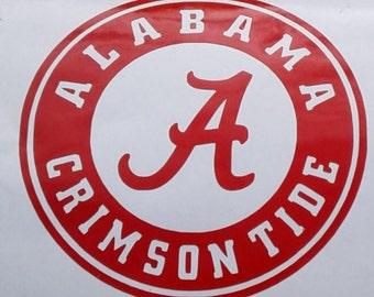 Alabama Crimson Tide Decal University of Alabama sticker Football Cars Trucks SUV Truck Yeti Mirrors Walls Vinyl Decal