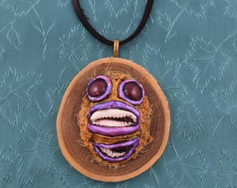 Hand Sculpted Tutelary Pendant: Piscus (w/ Topaz Eyes)