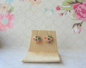 Polymer Clay Handmade M&M Cookie Colorful Stainless Steel Stud Earrings Jewelry Cute Pretty Girls Women Studs
