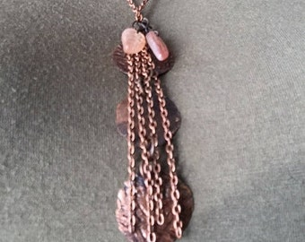 Necklace Hammered copper with Patina finish