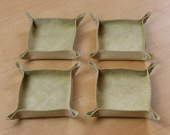 Beige Leather Tabletop Token Trays - Set of Four