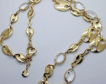 Vintage R. J. Graziano Long Gold Tone Chain With Oval Crystal Beads