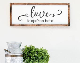 Love is spoken here, shabby chic wood frame decor, christian wall art, leap of faith signs, dining room sign, bible verse sign, bedroom sign