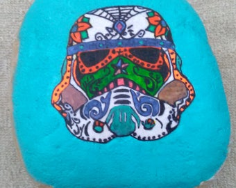 Hand painted rock : Sugar skull