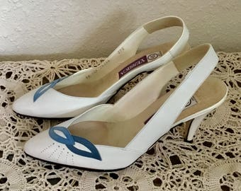 80's Vintage White Leather Slingback Heels