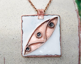 Enamel pendant Abstract geometric Cloisonne enamel pendant Enameled Copper Necklace Metalwork Jewelry Measures approximately 40 mm by 35 mm