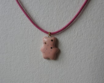 Ceramic bear pendant necklace