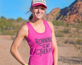 Running is my Therapy Triblend Racerback Tank - Women's - Pink