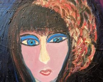 Mona Boulware Webb Original Painting - Outsider Art Oil Portrait