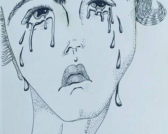 Crying Woman - print