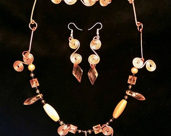 Copper Necklace, Bracelet, & Earring Set