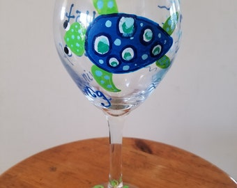 Sea turtle swimming hand painted glass