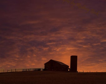 Country Barn and Sunset