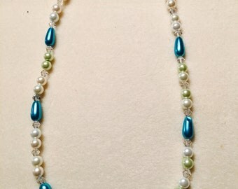 Teal teardrop and Pearl necklace