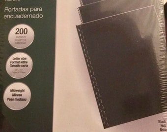 Fellowes Binding Covers 52170 Black Linen Texture Pack 200 Letter Size 8.5 x 11