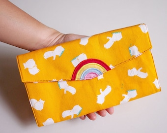 Rainbow Wallet, Wallet with Coin Pouch, Ladies Long Wallet, Wallet Purse, Fabric Wallet, Vegan Wallet Women, Yellow Wallet - Hippo Fabric