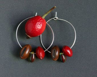 handmade silver hoops with natural red and brown tropical seeds - ethnic boho botanical jewelry - gift for nature lover