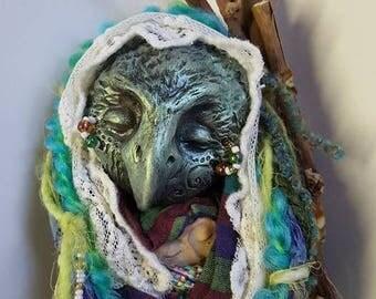 Blue Crow, Ancient Crow Mother, Goddess art,  Art doll, Wild Garden, Spirit doll,  Kitchen Witch,  Handcrafted doll, fabric sculpture,