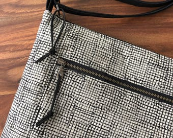 Traverse Crossbody Bag - Natural with Black Grid - Ready to Ship
