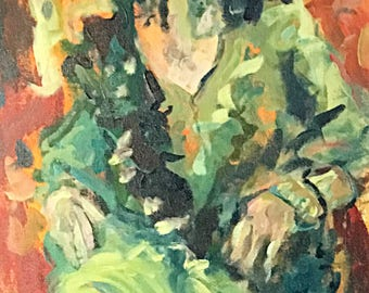 Flower Nymph CHLORIS  Expressionistic acrylic figure study in yellow greens and oranges