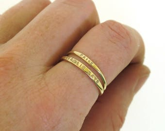 Stackable Name Ring, dainty name ring in 14K Yellow Gold, personalized gold ring, mom ring, gold stacking ring