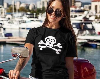 Womens Skull and Crossbones T-shirt Bones Shirt Biker Girl Motorcycle Shirts Gift for her Birthday Girlfriend Best Friend Daughter Wife