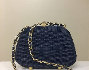 1960s Navy Blue Basket Weave Box Purse Made by ADG Fashion Imports