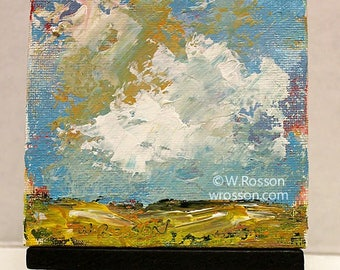 Original Landscape Painting, and Easel, Miniature Painting, Clouds, Mountains, Winjimir, Home Decor, Office Art, Teacher, Co-worker Gift,
