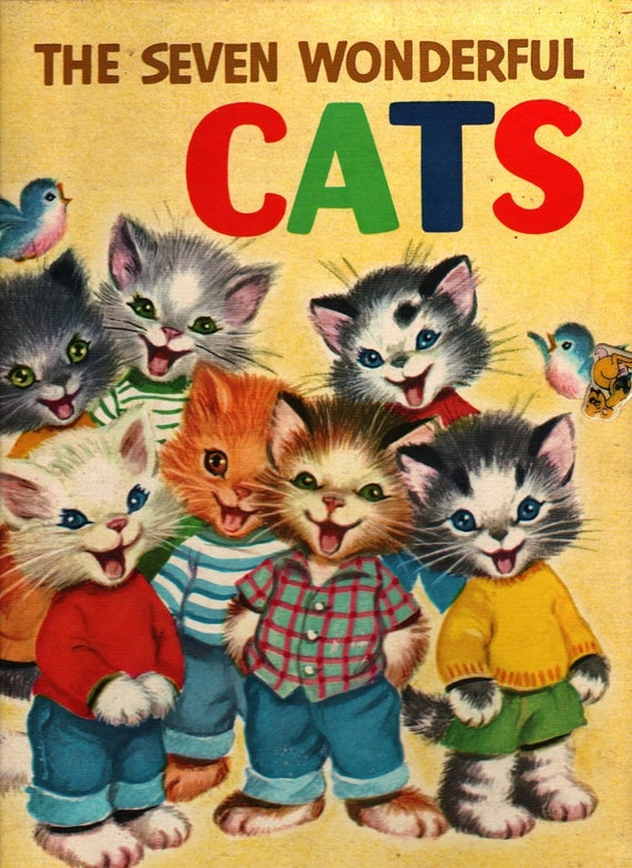 The Seven Wonderful Cats a Rand McNally Giant Book - Wallace Wadsworth - Elizabeth Webbe - 1956 - Vintage Kids Book