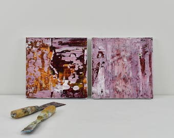 Two Small Abstract Paintings, Sorbet 1 & 2, Textured Acrylic, Modern Abstract Art, Minimalist, Reductive, Diptych, pink. yellow, burgundy