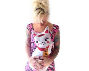 White Lucky Cat cushion - throw pillow -maneki neko cat plush homewares housewares cute kawaii