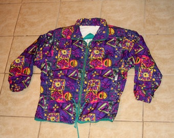 ISPO Purple Floral Pattern Jacket Womens Medium Vintage 1990s
