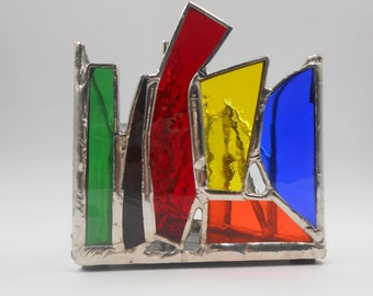 Triangle Shaped Rainbow Themed Stained Glass Candle Holder (Single Rainbow #1)