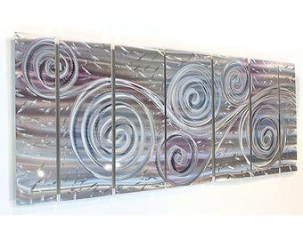 Silver Modern Metal Wall Art, Hand Etched Abstract Metal Wall Sculpture, Whimsical Home Decor, Indoor Outdoor - Royal Winds by Jon Allen