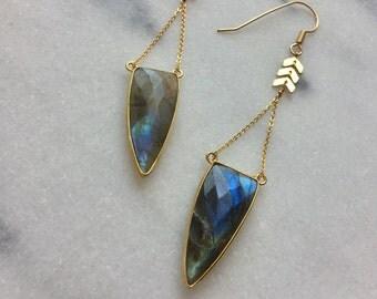 Parvati Earrings - Labradorite & Gold