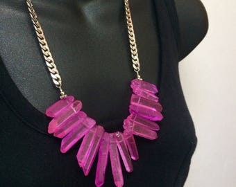 Magenta Crystal Point Bib Necklace - Hot Pink Quartz Points on Silver Curb Chain - Statement Necklace - Christmas Gift