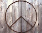 34 inch Peace Sign Wreath Large Metal Garden Sculpture