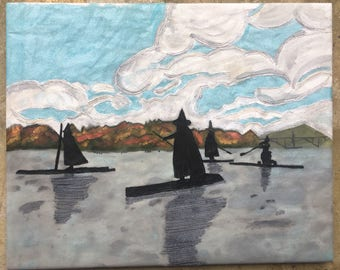 Witches on the Willamette - Hand embroidered painting (Prints Available)