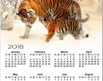 """Siberian Tiger and Cub in Snow 2018 Full Year View 8"""" Calendar - Magnet or Wall #3865"""