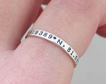 Coordinate Ring, Friendship Ring, Personalized Coordinates, Stacking Ring, Couples Coordinates, Handmade Sterling Silver Ring
