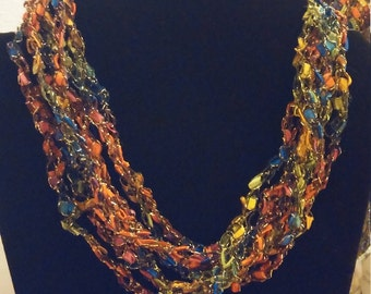 Carnival of Color,  A sparkly adjustable crocheted trellis yarn necklace, Ladder Yarn, Trellis Yarn