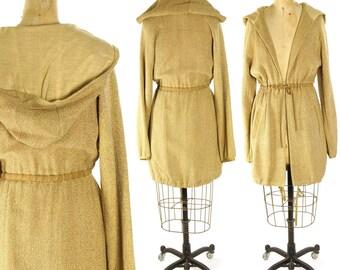 90s Boho Cotton Hoodie / Vintage 1990s Woven Jute Hippie Bohemian Lightweight Drawstring Waist Hooded Linen Utility Safari Jacket / Medium