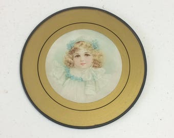 Victorian Child Portrait Flue Cover, Beautiful Blonde Girl Litho Print Glass, Shabby Cottage Wall Hanging
