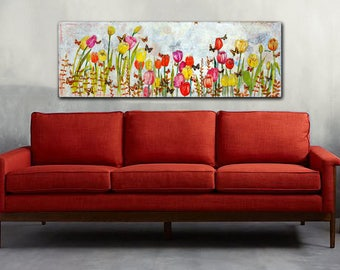 ORIGINAL Abstract Floral art | canvas art | mixed media collage painting | Tulips | 2x5 feet