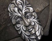 Large Greenman Face Cab Charcoal, Gray, & Silver leaf spirit handmade Cabochon polymer clay 47x28mm