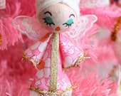 Small Vintage Style Retro Kitsch Christmas Angel Tree Ornament - Vintage Pretty Pink