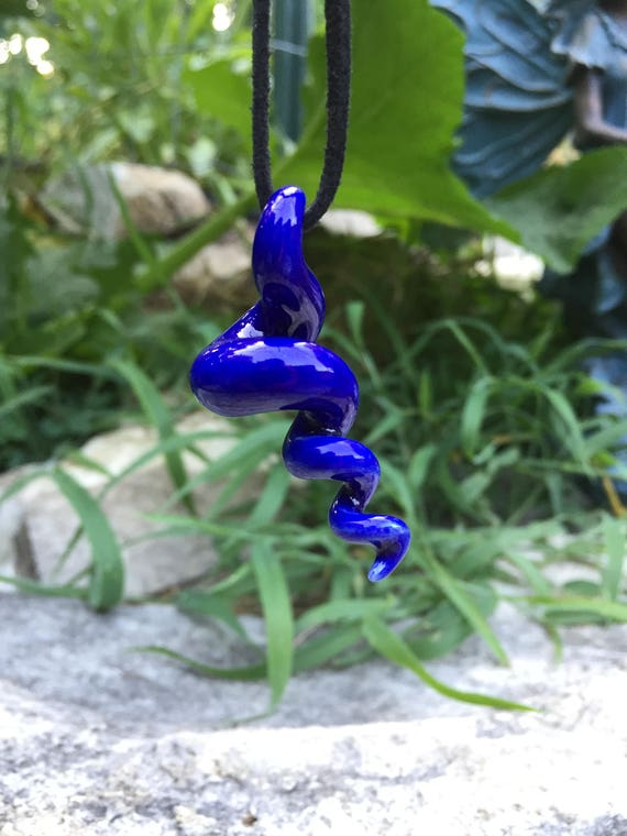 squiggly organic glossy blue porcelain pendant