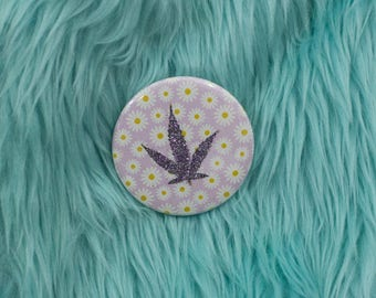 Dusky Purple Glitter Pressed Cannabis Leaf Button